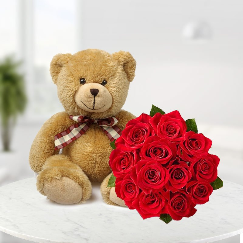 10 Red Roses Bunch and 6 Inches Cute Teddy Bear - India Cakes n Flowers