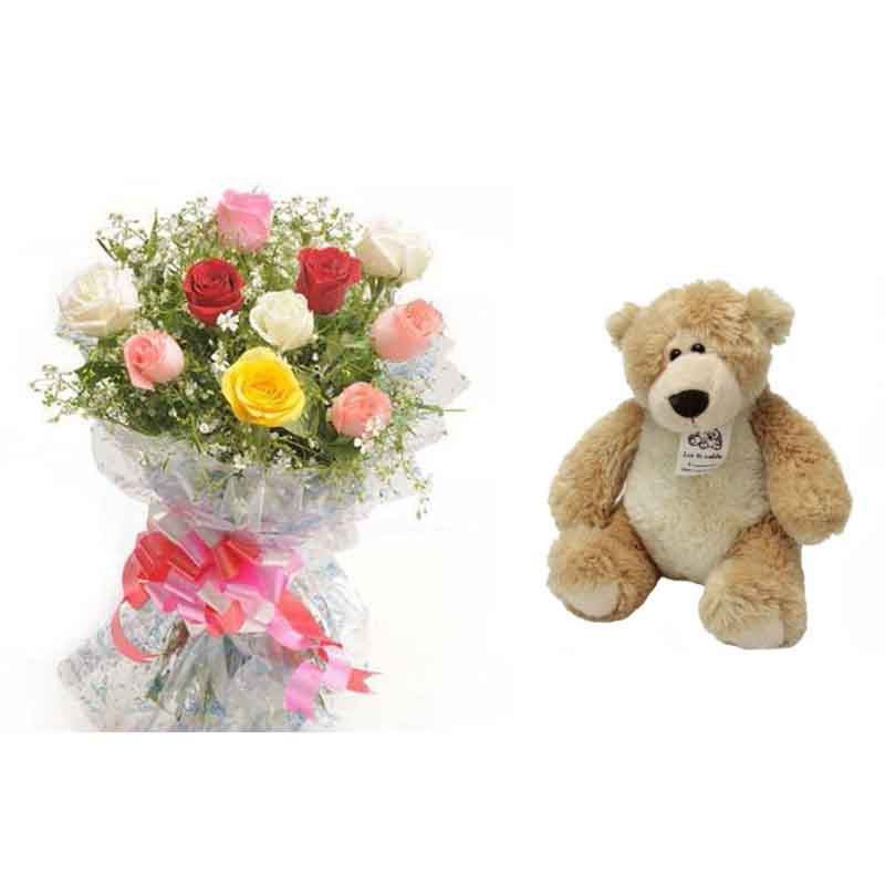12 Mix Roses Bunch and 6 Inches Cute Teddy Bear - India Cakes n Flowers