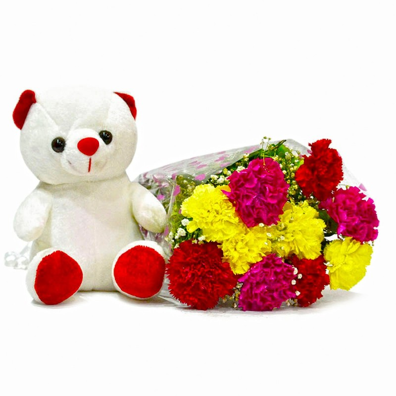 12 mix carnation bunch and 6 inches cute teddy bear india cakes n