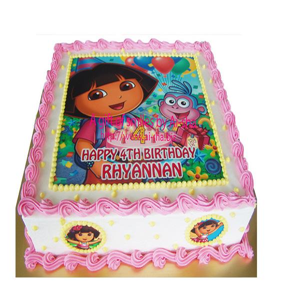 Awesome Dora The Explorer Cartoon Cake 2 Kg India Cakes N Flowers Funny Birthday Cards Online Alyptdamsfinfo